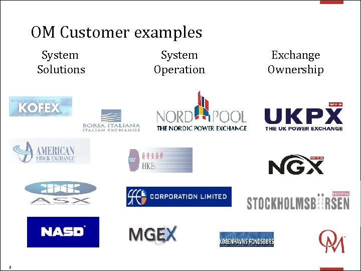 OM Customer examples System Solutions 3 System Operation Exchange Ownership