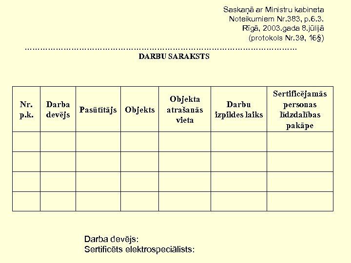 Saskaņā ar Ministru kabineta Noteikumiem Nr. 383, p. 6. 3. Rīgā, 2003. gada 8.
