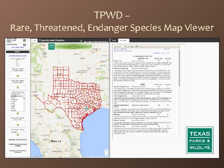 TPWD – Rare, Threatened, Endanger Species Map Viewer