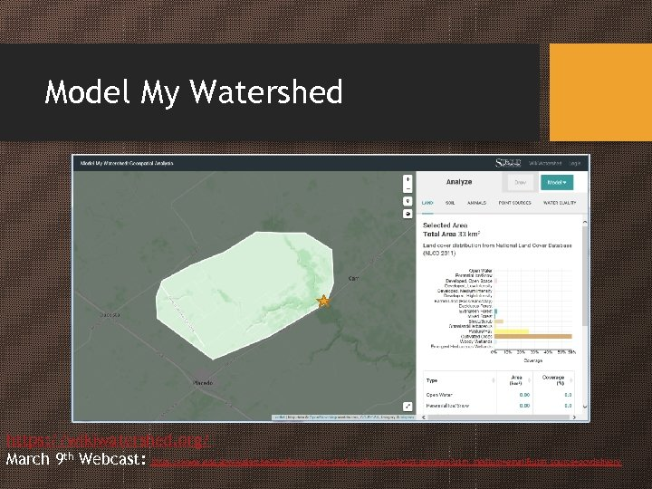 Model My Watershed https: //wikiwatershed. org/ March 9 th Webcast: https: //www. epa. gov/watershedacademy/watershed-academy-webcast-seminars?