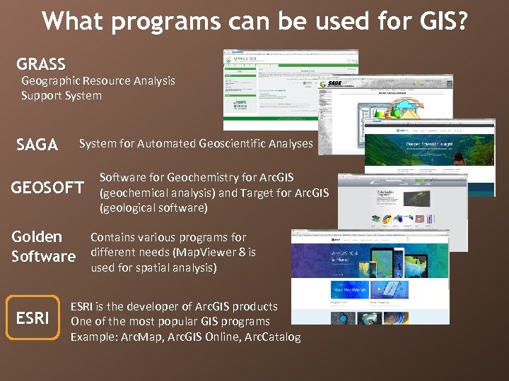 What programs can be used for GIS? GRASS Geographic Resource Analysis Support System SAGA