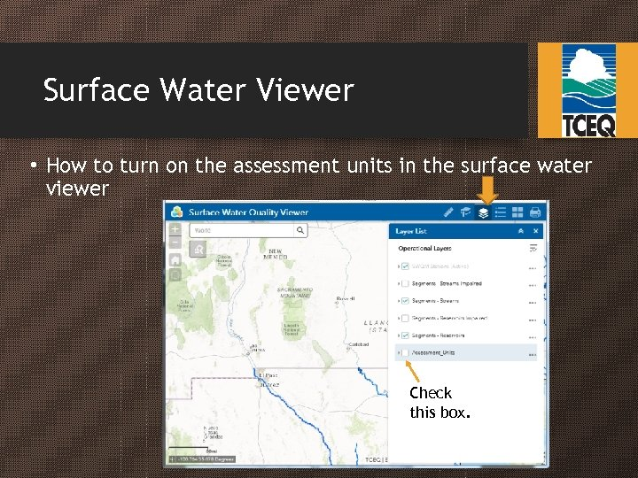 Surface Water Viewer • How to turn on the assessment units in the surface