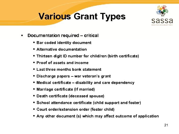 Various Grant Types § Documentation required – critical § Bar coded identity document §