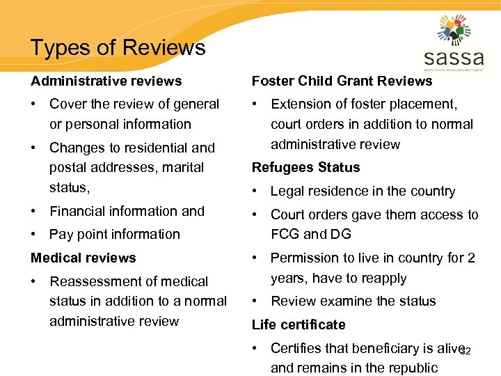 Types of Reviews Administrative reviews Foster Child Grant Reviews • Cover the review of