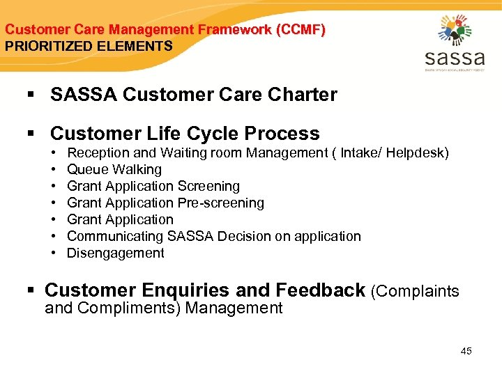 Customer Care Management Framework (CCMF) PRIORITIZED ELEMENTS § SASSA Customer Care Charter § Customer