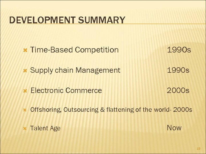 DEVELOPMENT SUMMARY Time-Based Competition 1990 s Supply chain Management 1990 s Electronic Commerce 2000