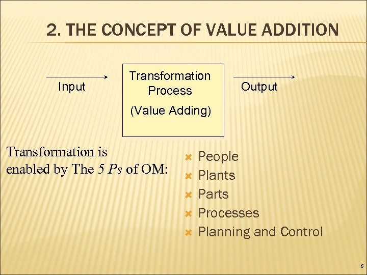 2. THE CONCEPT OF VALUE ADDITION Input Transformation Process Output (Value Adding) Transformation is