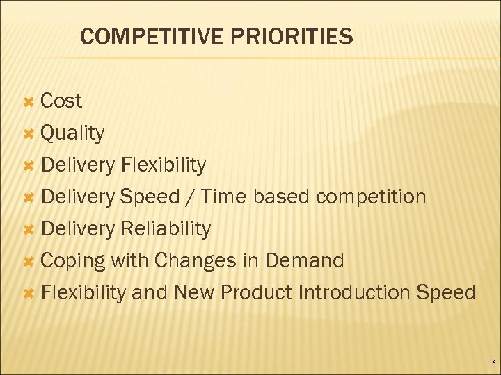 COMPETITIVE PRIORITIES Cost Quality Delivery Flexibility Delivery Speed / Time based competition Delivery Reliability