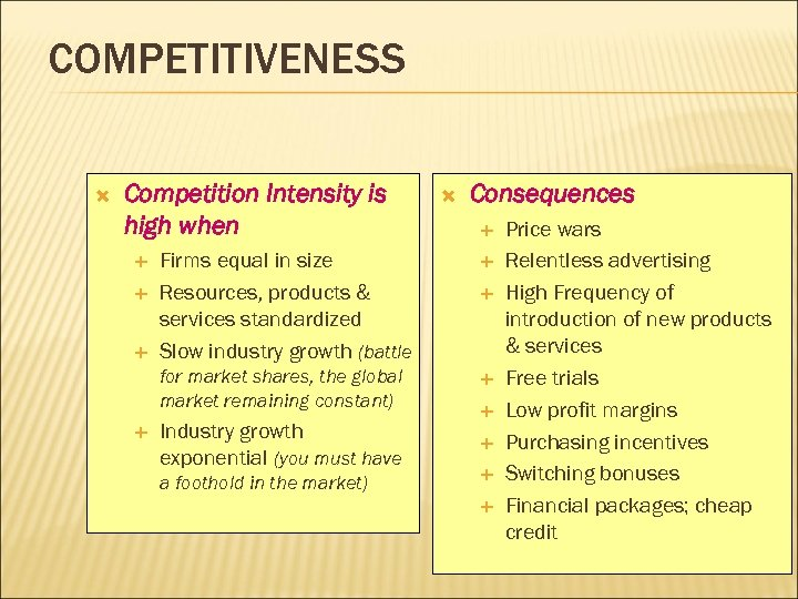 COMPETITIVENESS Competition Intensity is high when Consequences Firms equal in size Resources, products &
