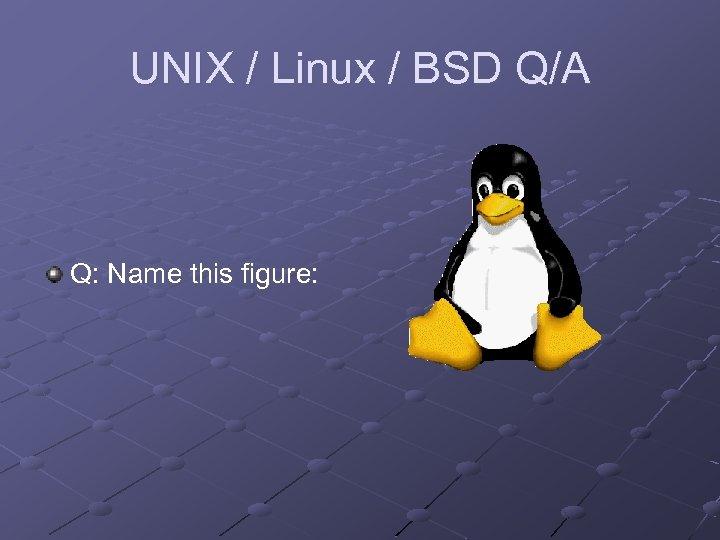 UNIX / Linux / BSD Q/A Q: Name this figure: