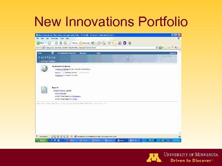 New Innovations Portfolio