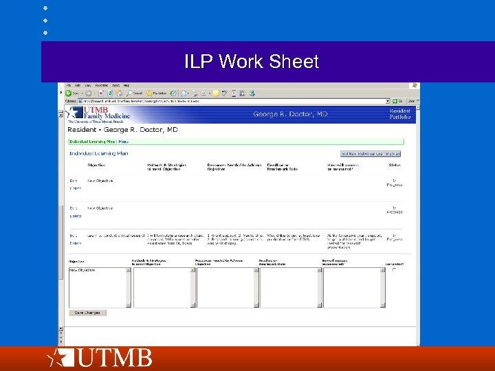 ILP Work Sheet