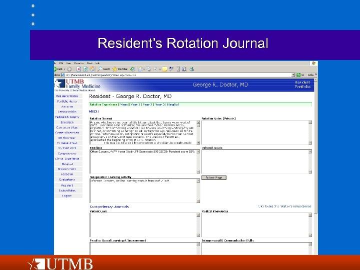 Resident's Rotation Journal