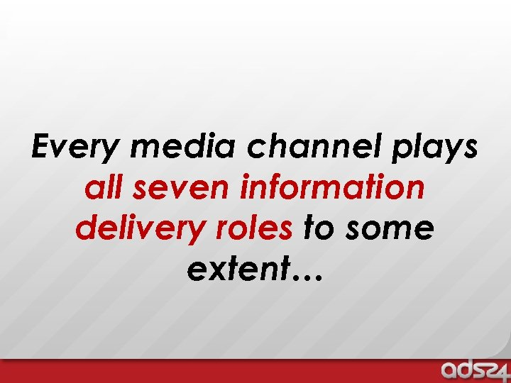 Every media channel plays all seven information delivery roles to some extent…