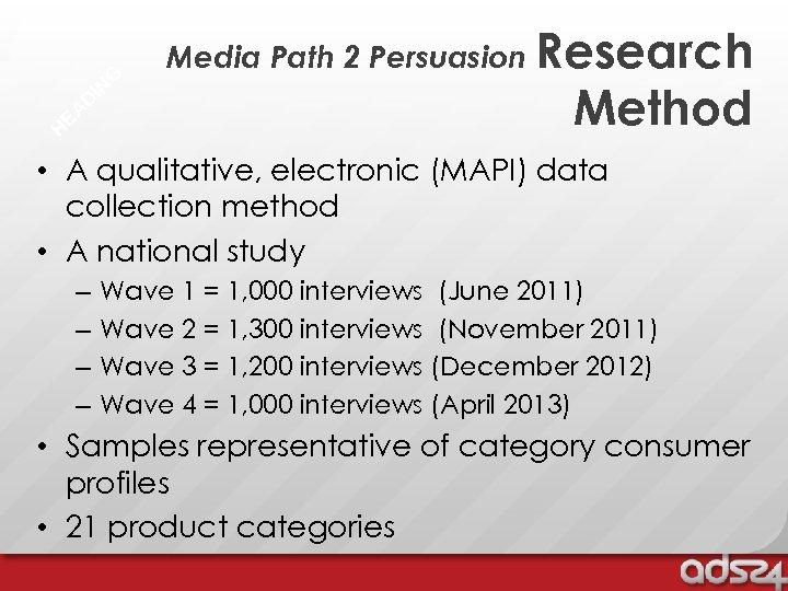 G IN D EA H Media Path 2 Persuasion Research Method • A qualitative,
