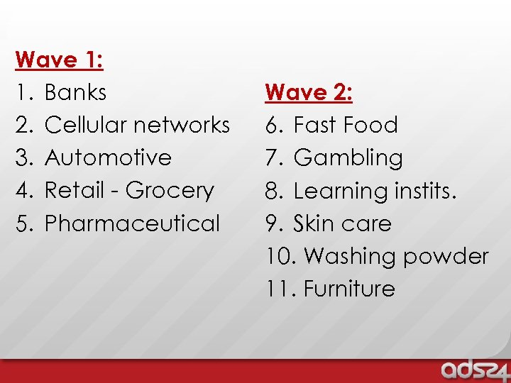 Wave 1: 1. Banks 2. Cellular networks 3. Automotive 4. Retail - Grocery 5.