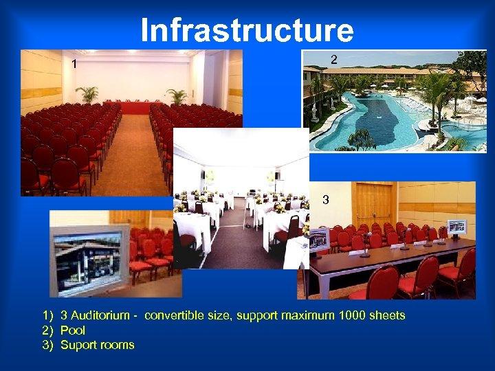Infrastructure 2 1 3 1) 3 Auditorium - convertible size, support maximum 1000 sheets