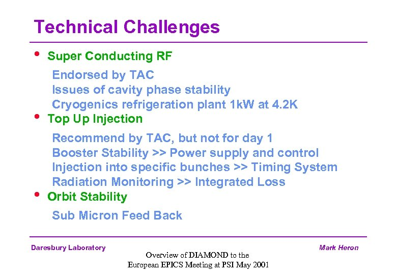 Technical Challenges • Super Conducting RF • Endorsed by TAC Issues of cavity phase