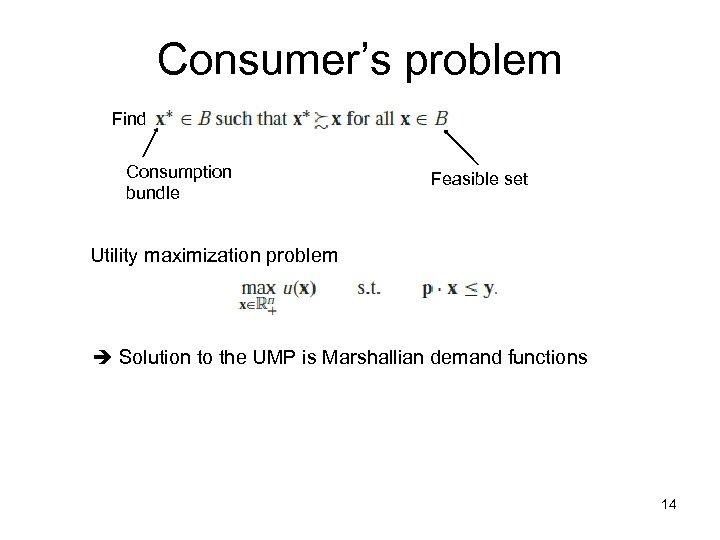 Consumer's problem Find Consumption bundle Feasible set Utility maximization problem Solution to the UMP