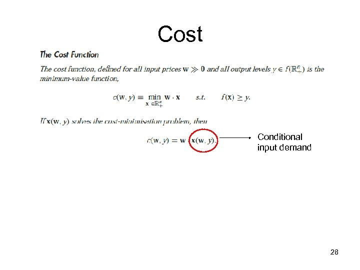 Cost Conditional input demand 28