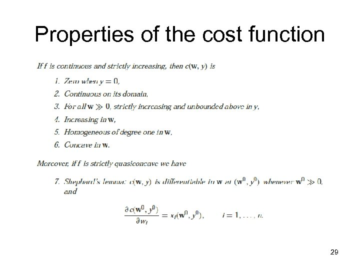 Properties of the cost function 29