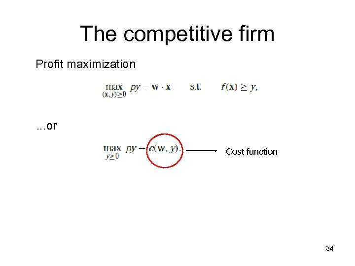 The competitive firm Profit maximization . . . or Cost function 34