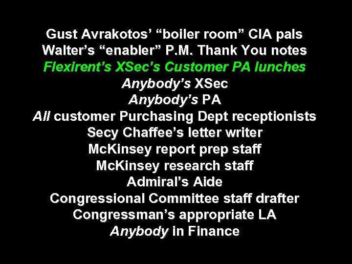 "Gust Avrakotos' ""boiler room"" CIA pals Walter's ""enabler"" P. M. Thank You notes Flexirent's"