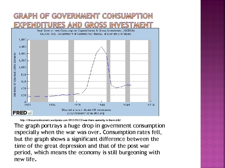 http: //thecurrentmoment. wordpress. com/2012/05/22/was-there-austerity-is-there-still/ The graph portrays a huge drop in government consumption especially