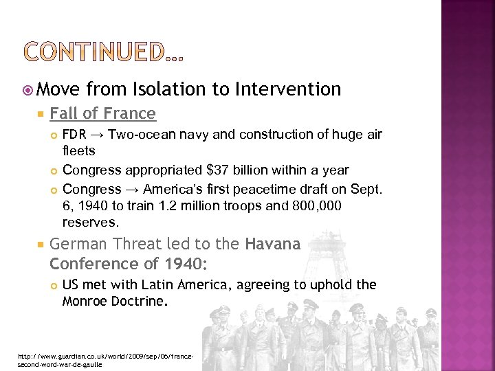 Move Fall of France from Isolation to Intervention FDR → Two-ocean navy and
