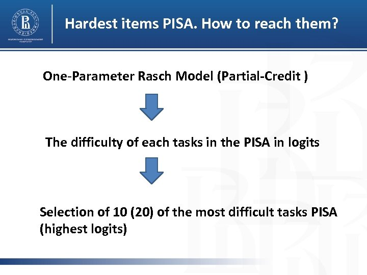 Hardest items PISA. How to reach them? One-Parameter Rasch Model (Partial-Сredit ) The difficulty