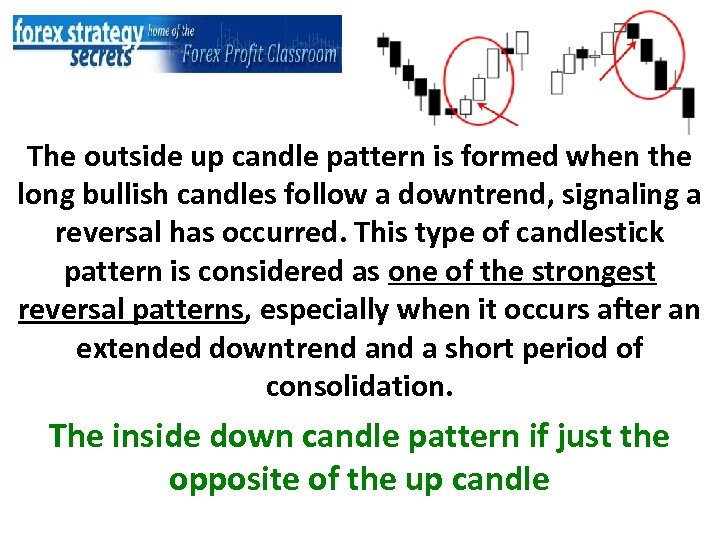 The outside up candle pattern is formed when the long bullish candles follow a