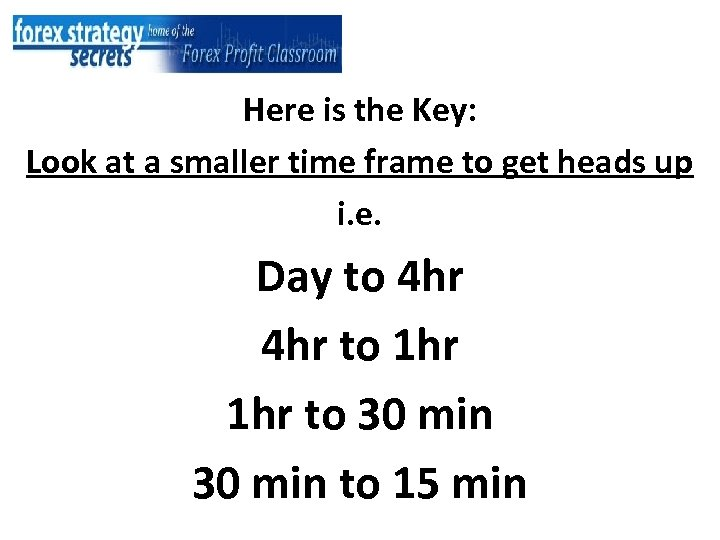 Here is the Key: Look at a smaller time frame to get heads up