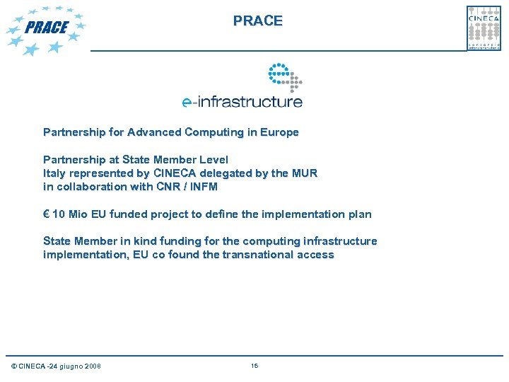 PRACE Partnership for Advanced Computing in Europe Partnership at State Member Level Italy represented