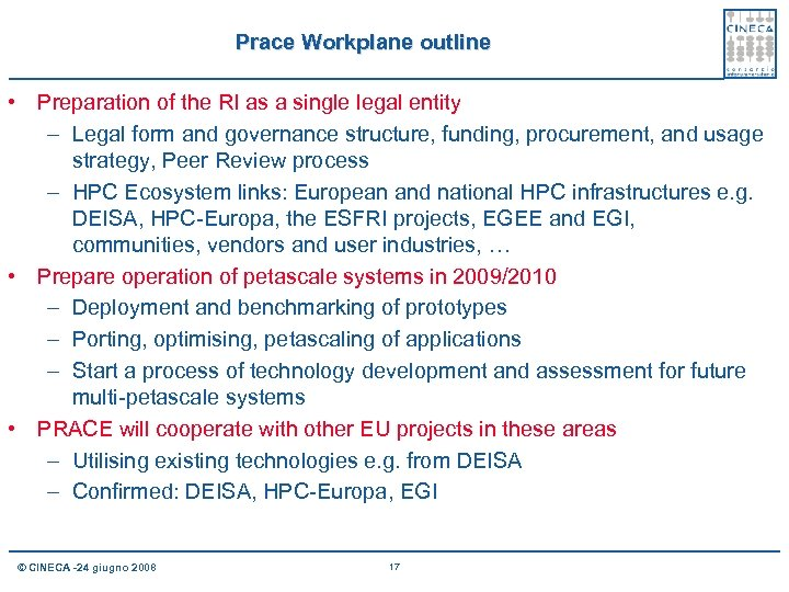 Prace Workplane outline • Preparation of the RI as a single legal entity –