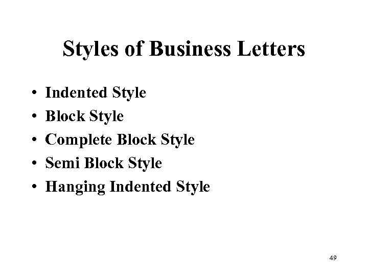Styles of Business Letters • • • Indented Style Block Style Complete Block Style