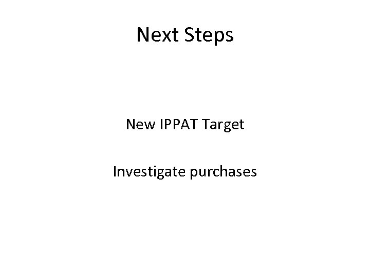 Next Steps New IPPAT Target Investigate purchases