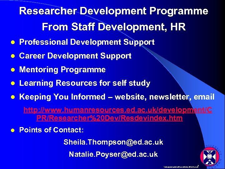 Researcher Development Programme From Staff Development, HR l Professional Development Support l Career Development
