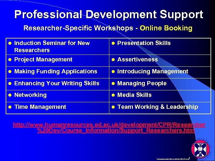 Professional Development Support Researcher-Specific Workshops - Online Booking l Induction Seminar for New Researchers