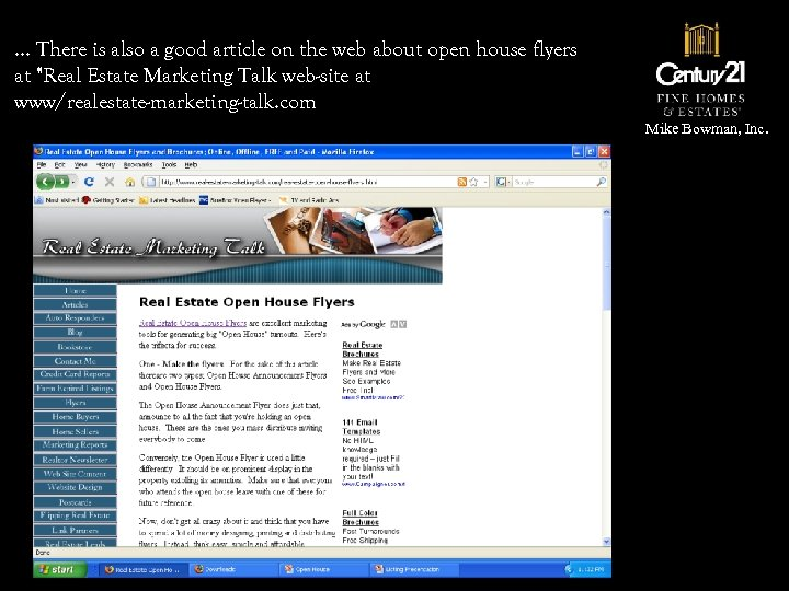 … There is also a good article on the web about open house flyers