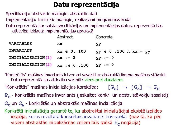 Datu reprezentācija Specifikācijā: abstraktie mainīgie, abstraktie dati Implementācijā: konkrētie mainīgie, realizējami programmas kodā Datu