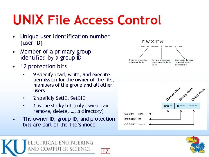 UNIX File Access Control • Unique user identification number (user ID) • Member of