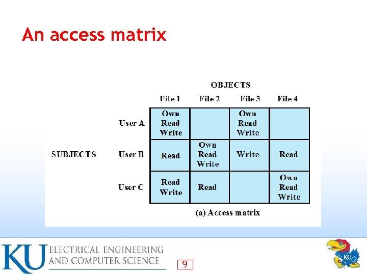 An access matrix 9