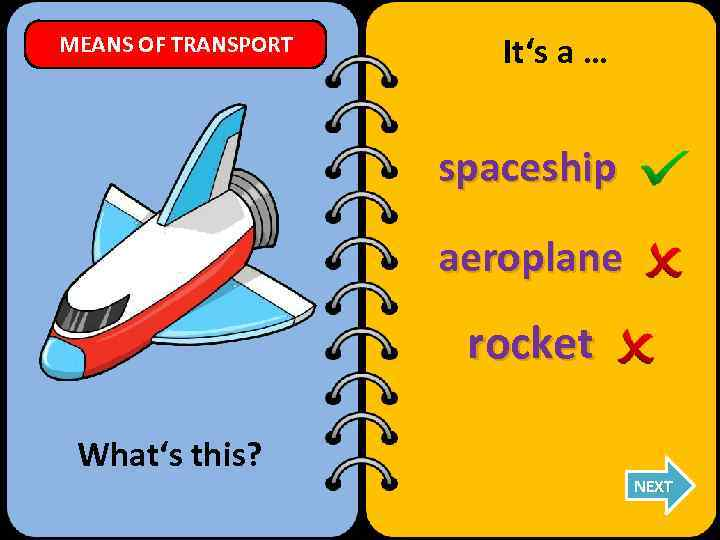 MEANS OF TRANSPORT It's a … spaceship aeroplane rocket What's this? NEXT