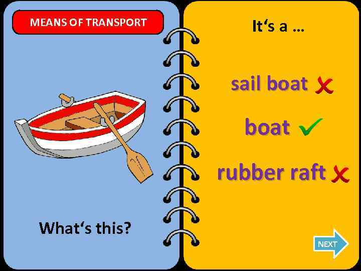 MEANS OF TRANSPORT It's a … sail boat rubber raft What's this? NEXT