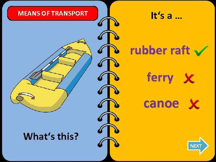 MEANS OF TRANSPORT It's a … rubber raft ferry canoe What's this? NEXT
