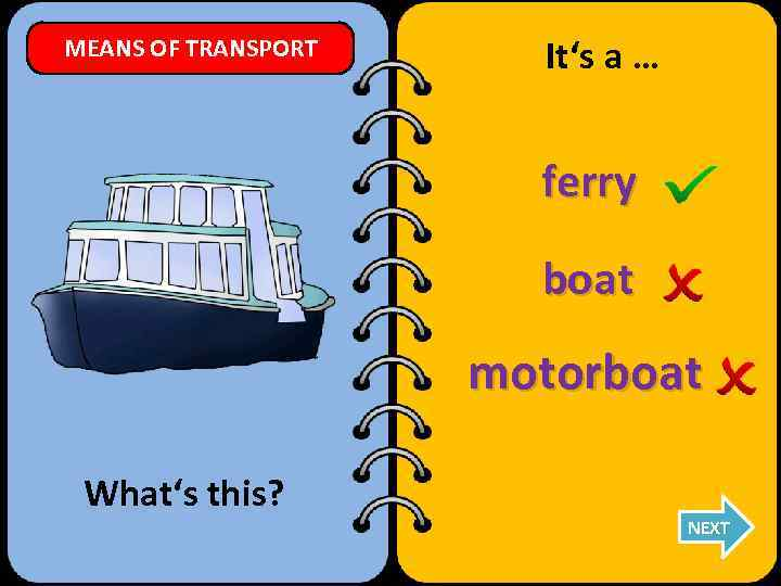 MEANS OF TRANSPORT It's a … ferry boat motorboat What's this? NEXT