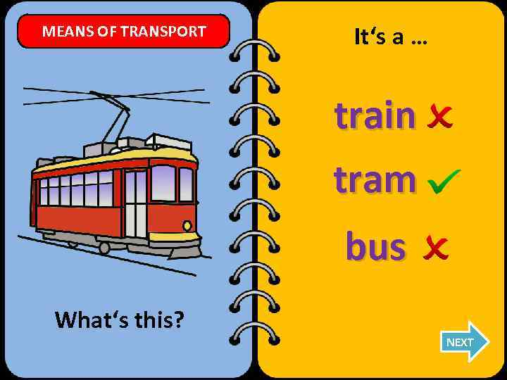 MEANS OF TRANSPORT It's a … train tram bus What's this? NEXT
