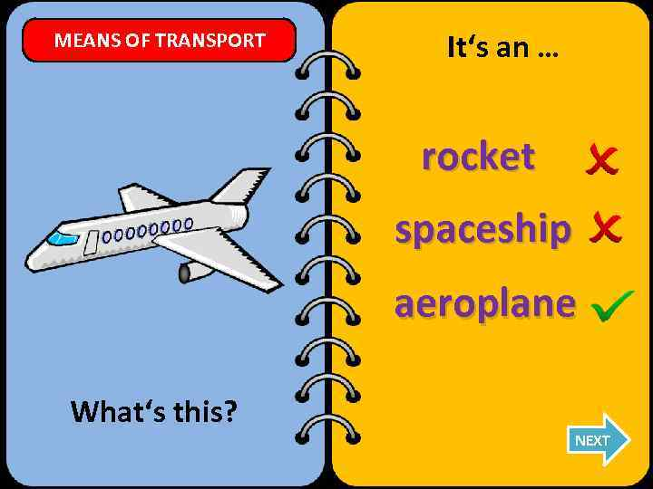 MEANS OF TRANSPORT It's an … rocket spaceship aeroplane What's this? NEXT