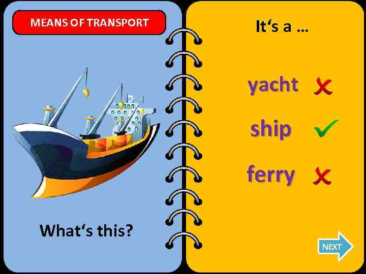 MEANS OF TRANSPORT It's a … yacht ship ferry What's this? NEXT