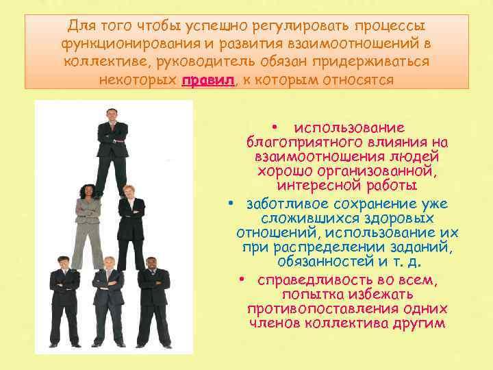 Для того чтобы успешно регулировать процессы функционирования и развития взаимоотношений в коллективе, руководитель обязан